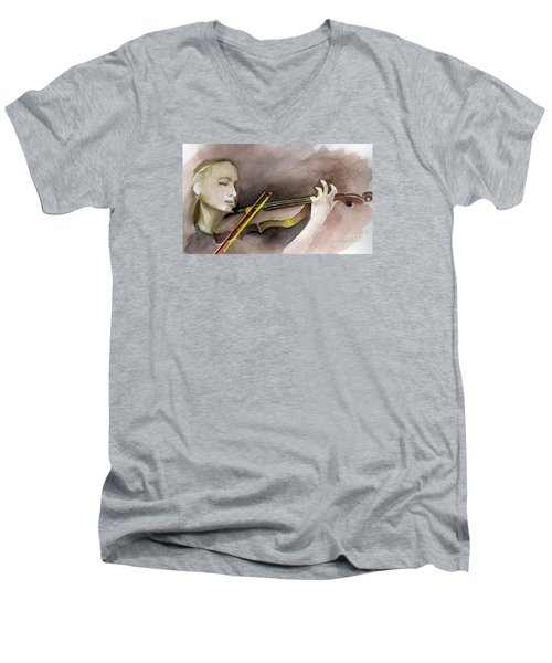 Men's V-Neck T-Shirt featuring the painting The Violin by Allison Ashton