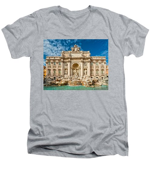 The Trevi Fountain - Rome Men's V-Neck T-Shirt by Luciano Mortula