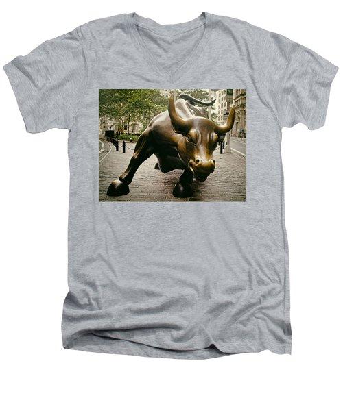 The Wall Street Bull Men's V-Neck T-Shirt