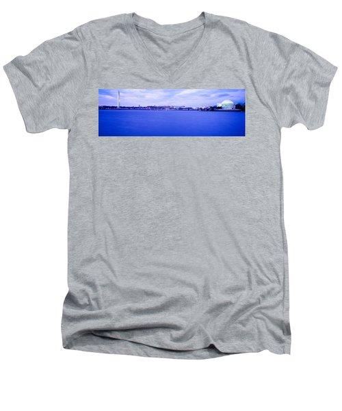 Tidal Basin Washington Dc Men's V-Neck T-Shirt by Panoramic Images