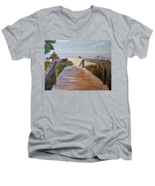 Men's V-Neck T-Shirt featuring the painting To The Beach by Marilyn  McNish