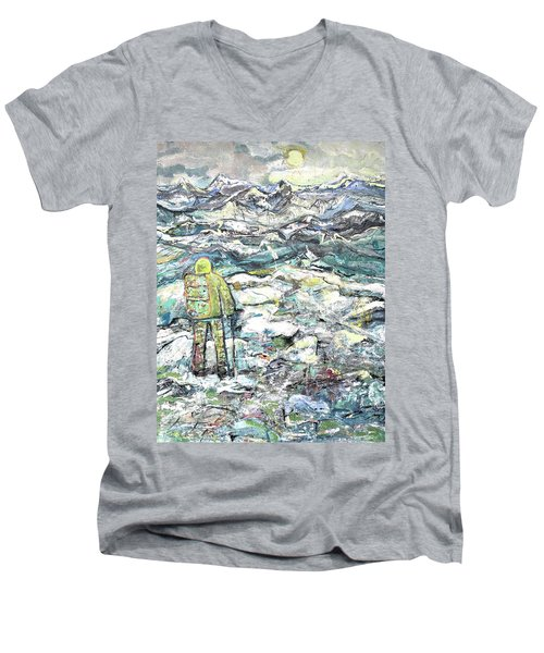 Men's V-Neck T-Shirt featuring the painting Tranquility by Evelina Popilian