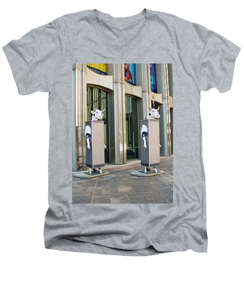 Cow Parade N Y C 2000 - Twin Cowers Men's V-Neck T-Shirt by Allen Beatty