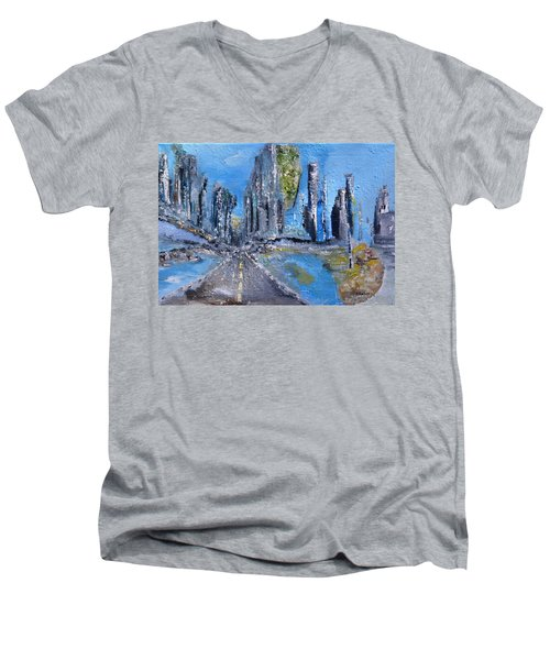 Men's V-Neck T-Shirt featuring the painting Urban by Evelina Popilian