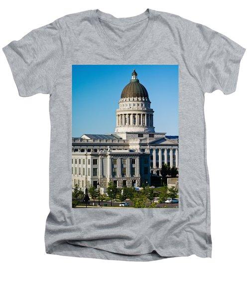 Utah State Capitol Building, Salt Lake Men's V-Neck T-Shirt by Panoramic Images