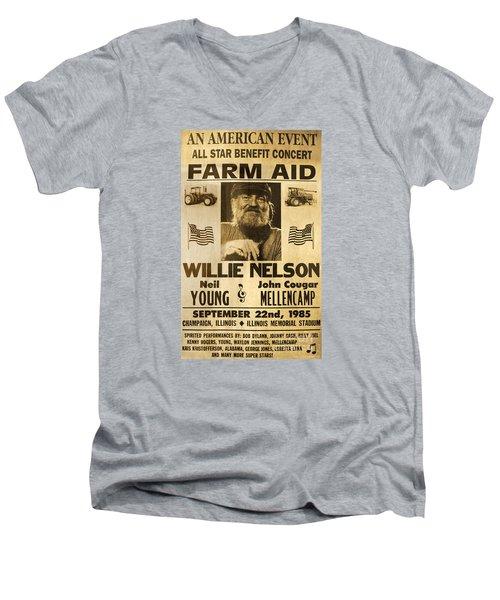 Vintage Willie Nelson 1985 Farm Aid Poster Men's V-Neck T-Shirt by John Stephens