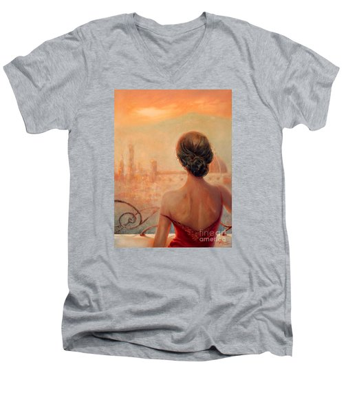 Visions Of Florence Men's V-Neck T-Shirt by Michael Rock