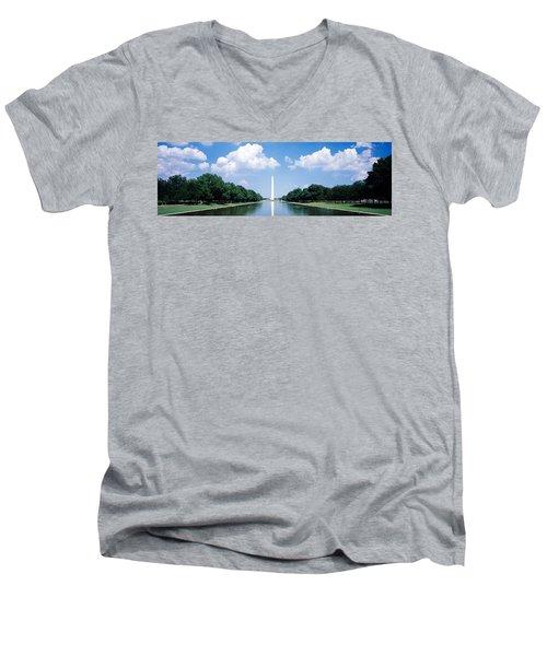 Washington Monument Washington Dc Men's V-Neck T-Shirt by Panoramic Images