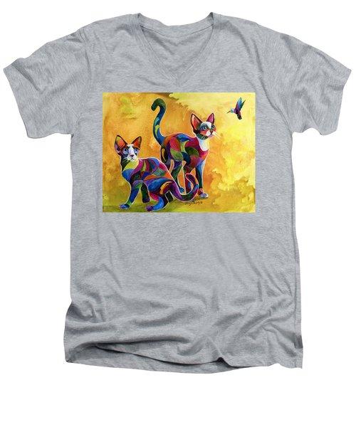 Watch The Birdie Men's V-Neck T-Shirt by Sherry Shipley