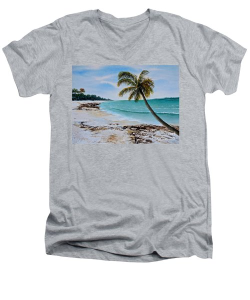 Men's V-Neck T-Shirt featuring the painting West Of Zanzibar by Sher Nasser