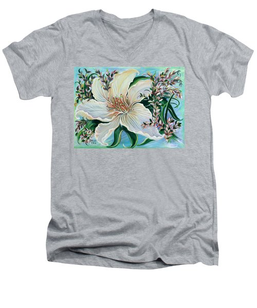 White Lily Men's V-Neck T-Shirt by Yolanda Rodriguez