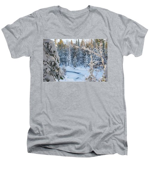 Winter At Grand Marais Creek Men's V-Neck T-Shirt