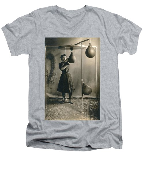 Woman Boxing Workout Men's V-Neck T-Shirt