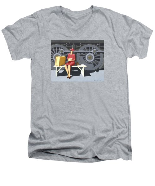 Men's V-Neck T-Shirt featuring the painting Woman With Locomotive by Gary Giacomelli