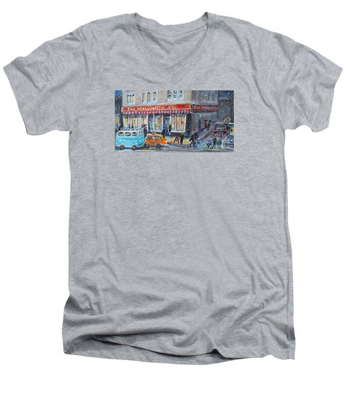Woolworth's Holiday Shopping Men's V-Neck T-Shirt by Rita Brown