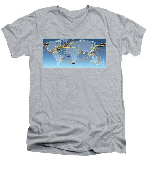 World Shipping Routes Map Men's V-Neck T-Shirt