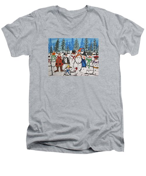 10 Christmas Snowmen  Men's V-Neck T-Shirt