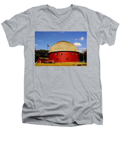 Men's V-Neck T-Shirt featuring the photograph 100 Year Old Round Red Barn  by Janette Boyd