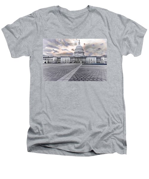 Men's V-Neck T-Shirt featuring the photograph Capitol Building by Peter Lakomy