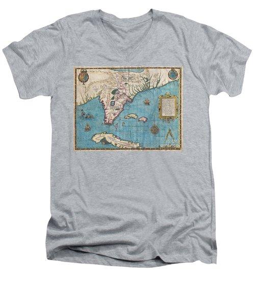 1591 De Bry And Le Moyne Map Of Florida And Cuba Men's V-Neck T-Shirt