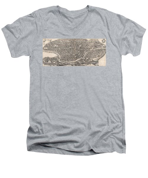 1652 Merian Panoramic View Or Map Of Rome Italy Men's V-Neck T-Shirt by Paul Fearn