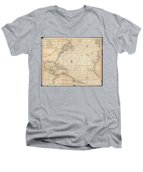 1683 Mortier Map Of North America The West Indies And The Atlantic Ocean  Men's V-Neck T-Shirt by Paul Fearn