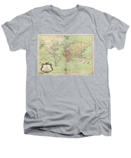 1778 Bellin Nautical Chart Or Map Of The World Men's V-Neck T-Shirt by Paul Fearn