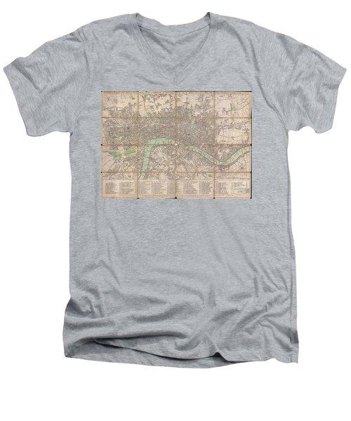 1795 Bowles Pocket Map Of London Men's V-Neck T-Shirt