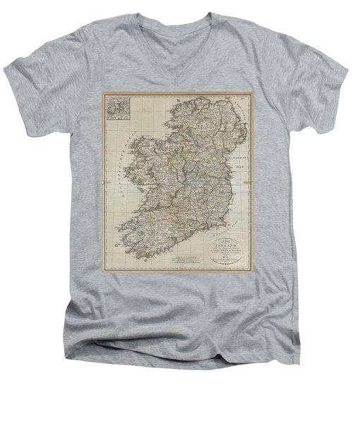 1804 Jeffreys And Kitchin Map Of Ireland Men's V-Neck T-Shirt