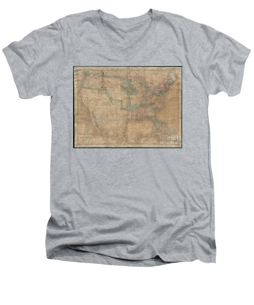 1839 Burr Wall Map Of The United States  Men's V-Neck T-Shirt