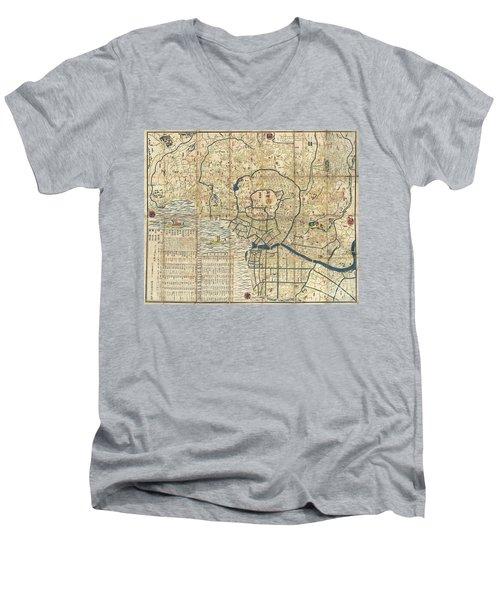 1849 Japanese Map Of Edo Or Tokyo Men's V-Neck T-Shirt