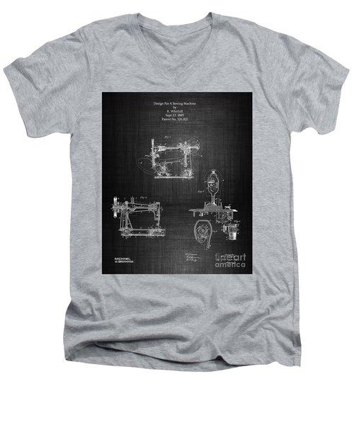 1885 Singer Sewing Machine Men's V-Neck T-Shirt