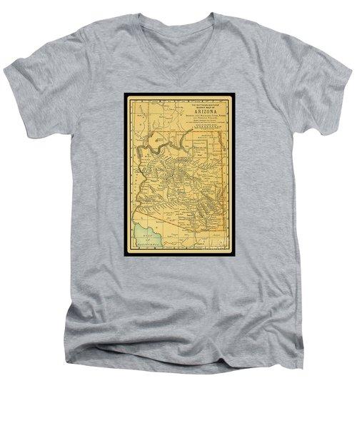 1891 Arizona Map Men's V-Neck T-Shirt by Phil Cardamone