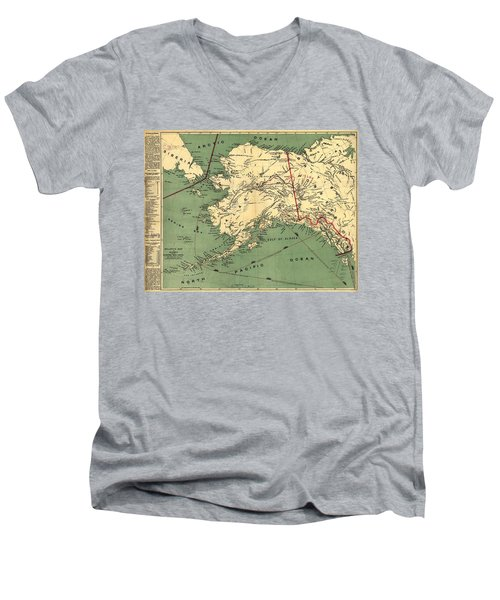 Men's V-Neck T-Shirt featuring the photograph 1897 Map Of Alaska by Charles Beeler