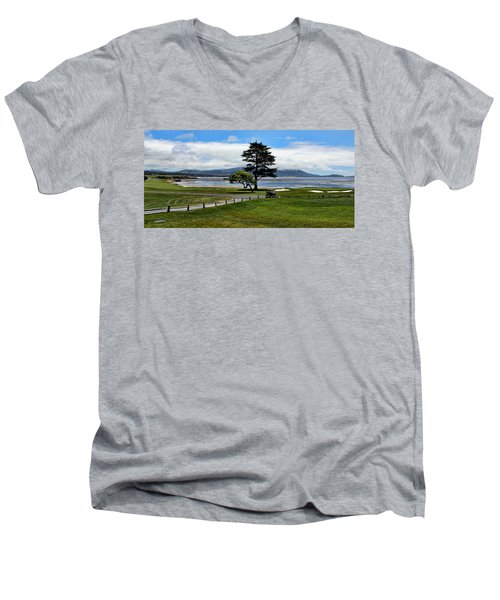 18th At Pebble Beach Panorama Men's V-Neck T-Shirt by Judy Vincent