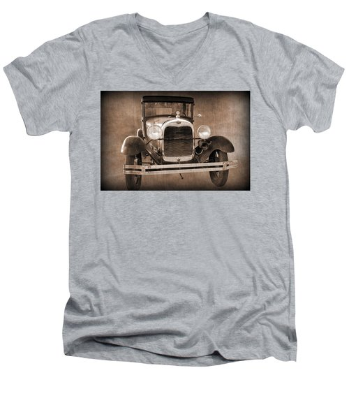 1928 Ford Model A Coupe Men's V-Neck T-Shirt by Betty Northcutt