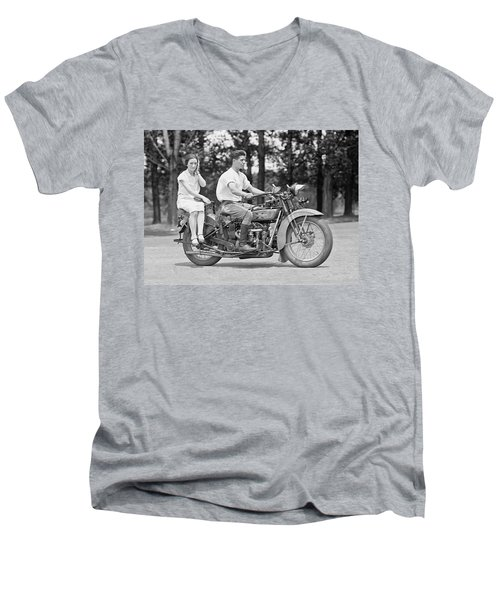 1930s Motorcycle Touring Men's V-Neck T-Shirt by Daniel Hagerman
