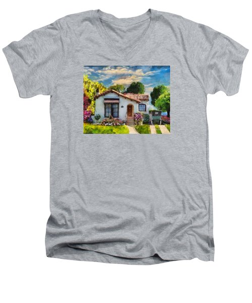 Men's V-Neck T-Shirt featuring the mixed media Alameda 1932  Spanish Beauty by Linda Weinstock