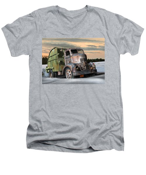 Men's V-Neck T-Shirt featuring the digital art 1940 Gmc Garbage Truck by Stuart Swartz