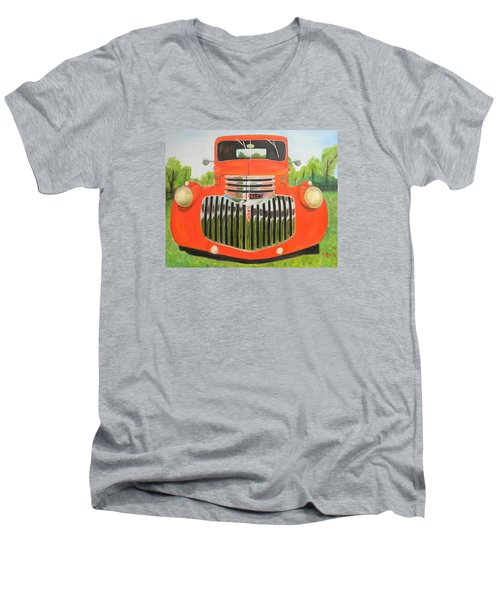 1946 Red Chevy Truck Men's V-Neck T-Shirt