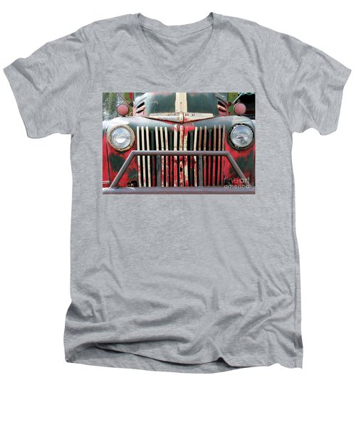 Men's V-Neck T-Shirt featuring the photograph 1946 Vintage Ford Truck by Fiona Kennard
