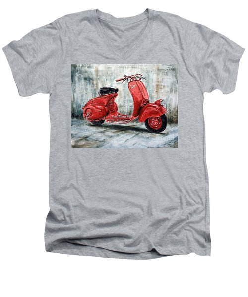 1947 Vespa 98 Scooter Men's V-Neck T-Shirt by Joey Agbayani