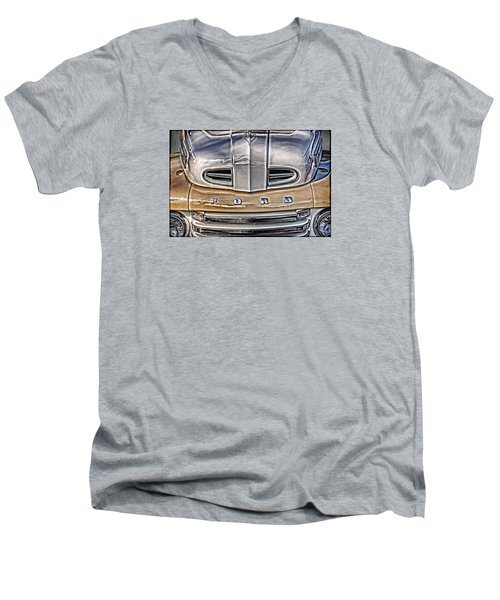 Men's V-Neck T-Shirt featuring the digital art 1948 Ford Pickup by Richard Farrington