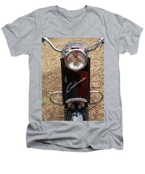 Men's V-Neck T-Shirt featuring the photograph 1950's Cushman by Fortunate Findings Shirley Dickerson