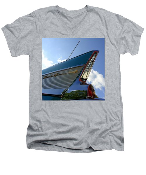 Men's V-Neck T-Shirt featuring the photograph 1957 Chevrolet Bel Air Fin by Joseph Skompski