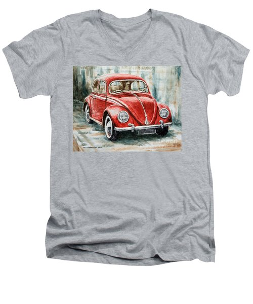 1960 Volkswagen Beetle 2 Men's V-Neck T-Shirt by Joey Agbayani