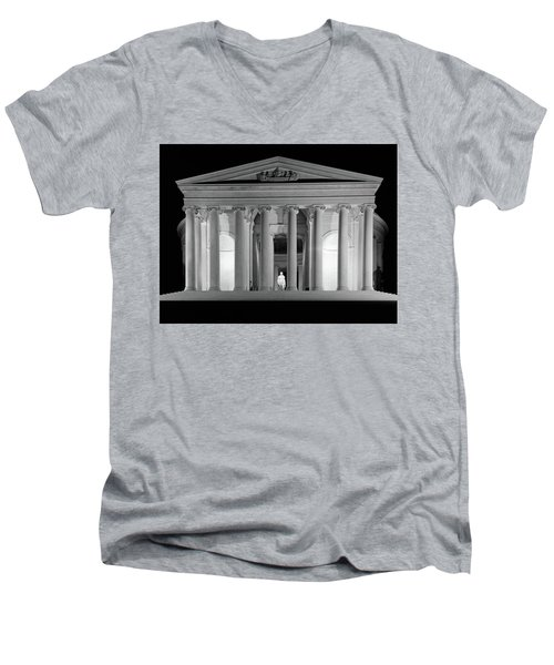 1960s Thomas Jefferson Memorial Lit Men's V-Neck T-Shirt