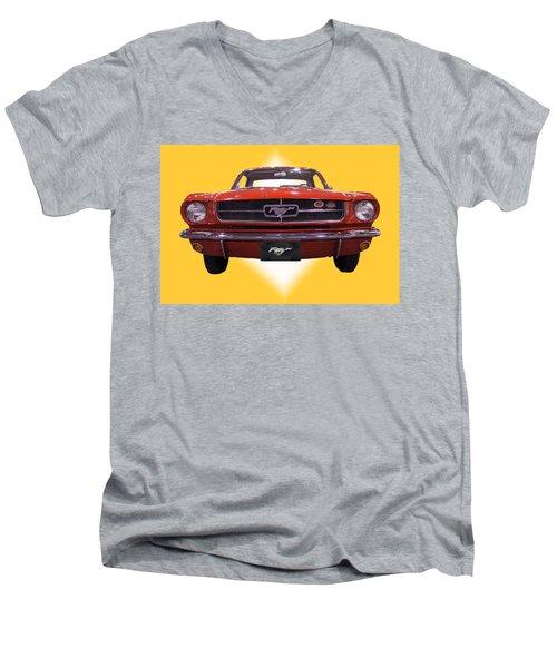 1964 Ford Mustang Men's V-Neck T-Shirt by Michael Porchik