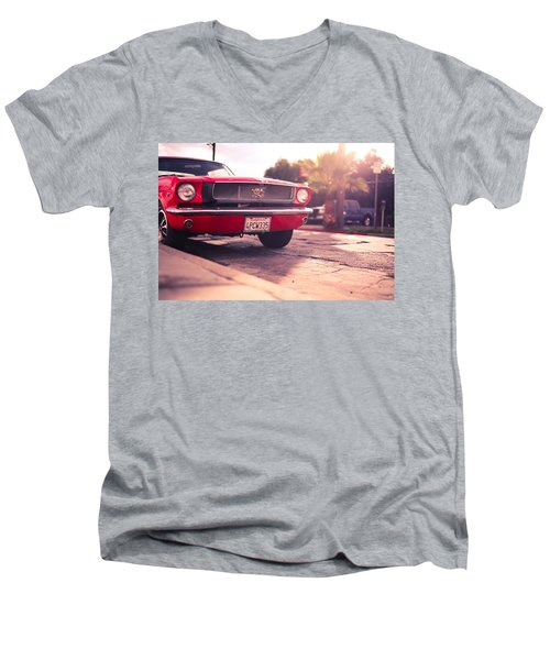 Men's V-Neck T-Shirt featuring the photograph 1966 Ford Mustang Convertible by Gianfranco Weiss