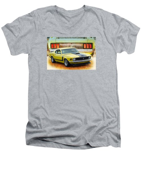 1970 Boss 302 Mustang Men's V-Neck T-Shirt